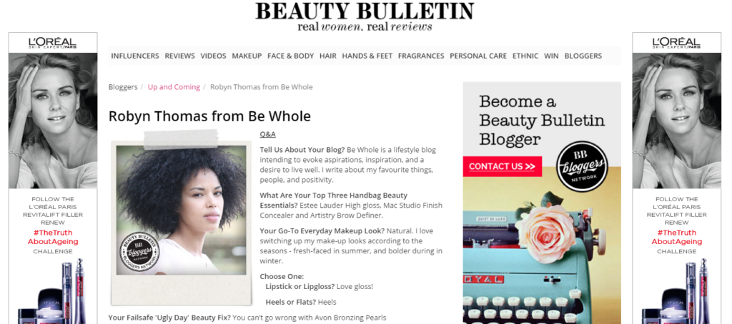 up and coming blogger, robyn ruth thomas of the Be Whole blog